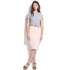 Madewell Pink Garment-dyed Pencil Point Jean Skirt